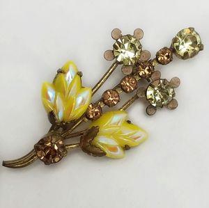 Vintage Floral Rhinestone Thermoset Brooch